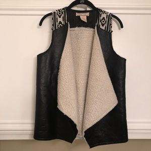 Flying Tomato Faux Suede & Shearling Vest